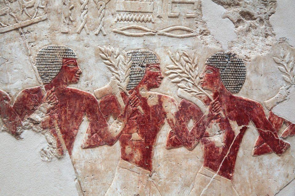Abbildung drei Männer Wandmalerei Feste und Prozessionen in Altägypten