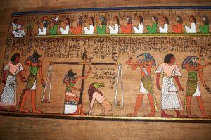 Papyrus mit Darstellung Suendewaage und Totengericht