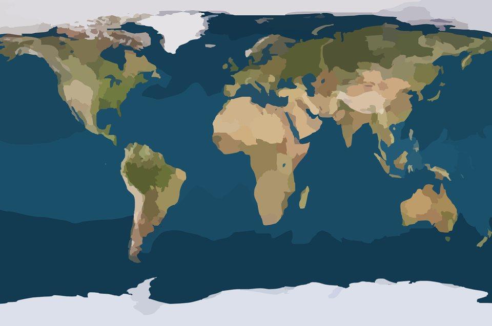 Passatkreislauf - Bedeutung für den Regenwald: Weltkarte stilisiert