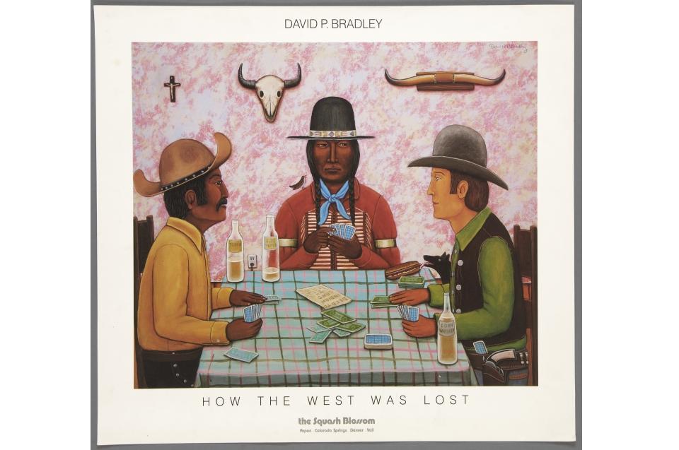 Wie der Westen verspielt wurde, Vierfarbstoffsetdruck für Squash Blossom Galery, Colorado, nach einem Gemälde von David P. Bradley (*1954, White Earth Chippewa, Minnesota) 1983 © Museum für Völkerkunde Wien