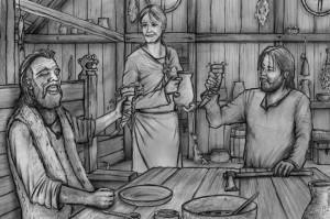subbird Illustration, A. Schmied Scene einer Wikinger Geschichte